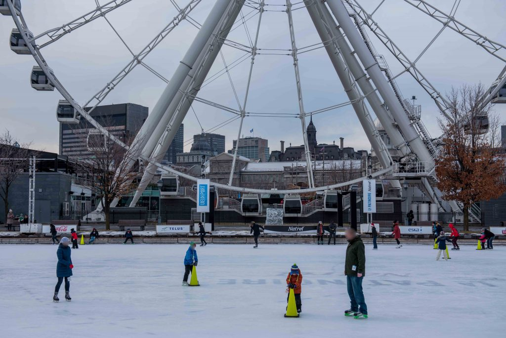 Skating at the Grande Roue in Old Port Montreal