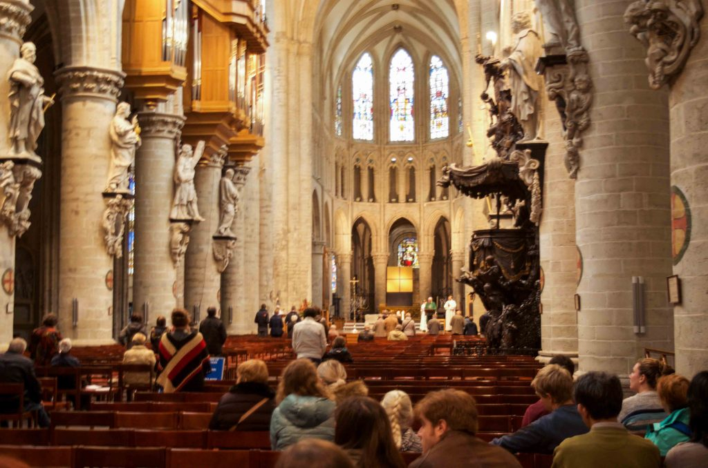 Inside St Michael and St Gudula Cathedral