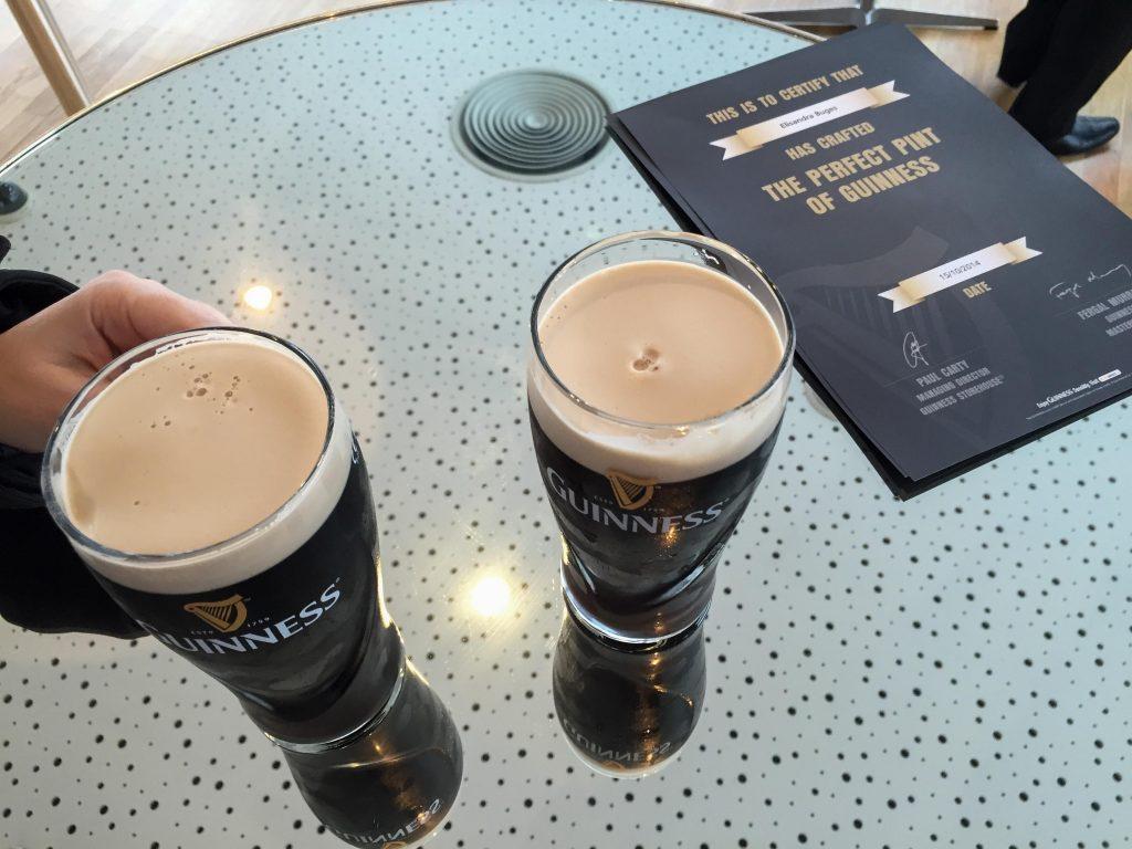 Enjoying Guinness pints
